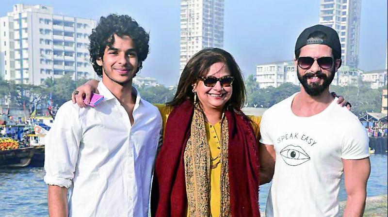 ishaan with his mother and brother
