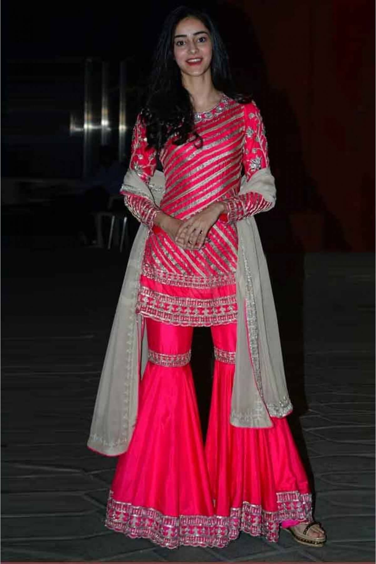 Ananya Pandey Silk Gharara Suit Pink Colour